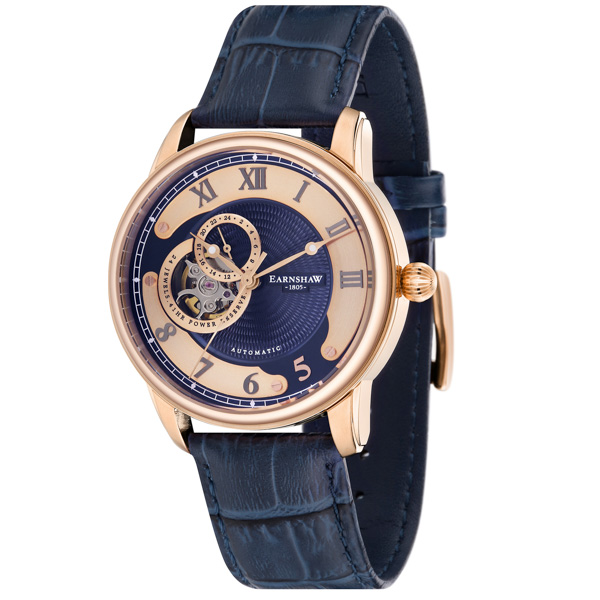 Thomas Earnshaw Gent's Longitude Automatic Watch with Genuine Leather Strap Blue/Rose Gold