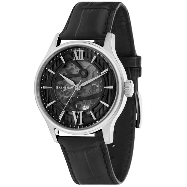 Thomas EarnshAw Gents Bauer Automatic Watch With Genuine Leather Strap Black