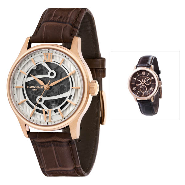 Thomas EarnshAw Gents Bauer Automatic Watch With Genuine Leather Strap with Free Watch Brown