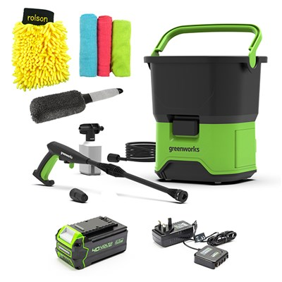 Greenworks GDC40 40V Cordless Pressure Washer, 4Ah Battery, Charger & Rolson Accessory Kit
