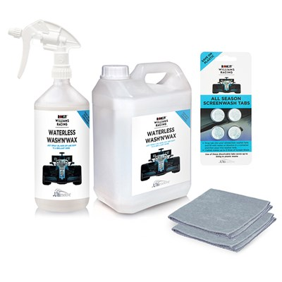 Rokit Williams 2.5L, 1L Bottle & Trigger plus 4 Pack Screen Wash Tablets & Microfibre Cloths