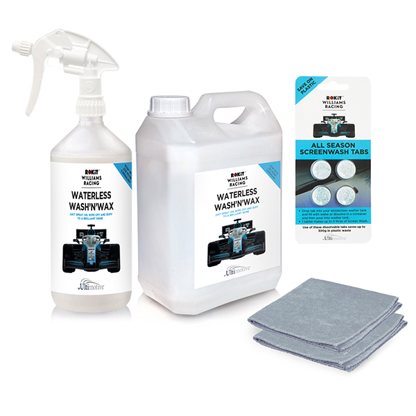 ROKiT Williams 2.5L, 1L Bottle & Trigger plus 4 Pack Screen Wash Tablets & Microfibre Cloths No Colour