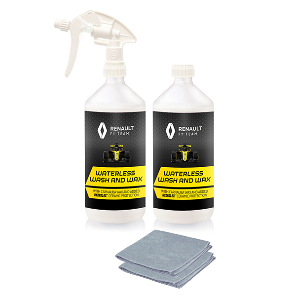 Renault F1 Waterless Wash & Wax 1L Bottles with Trigger & Microfibre Cloths No Colour