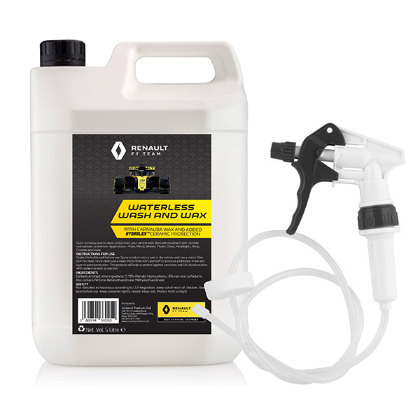 Renault F1 Waterless Wash and Wax 5L Jerry Can with Long Hose Trigger No Colour
