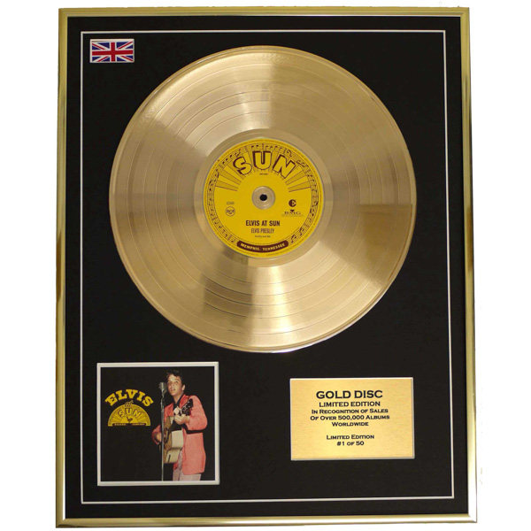 Elvis Presley At Sun Records Framed & Mounted Gold Disc Limited Edition of 50 Only No Colour