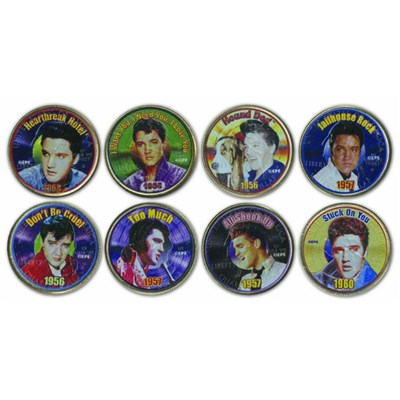 Elvis Presley Collection Set of 8 Different Genuine USA Colorised Elvis Image Coins
