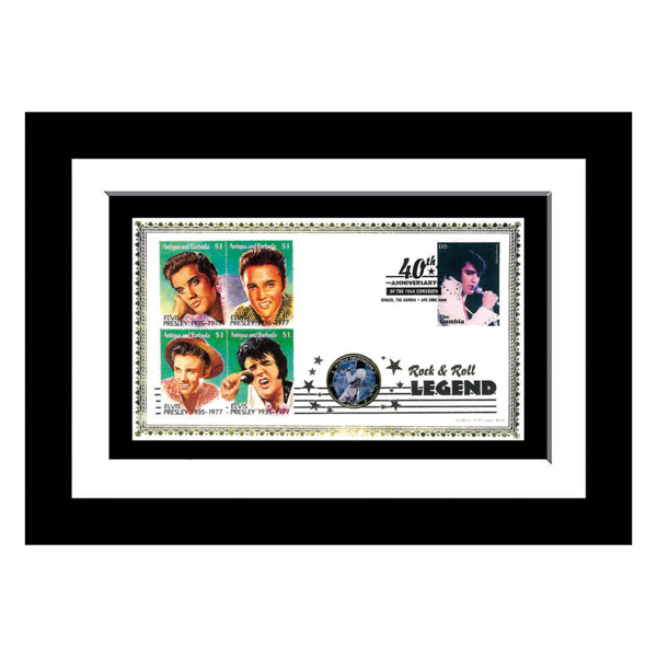 Elvis Presley Framed Celebration Cover Set of 4 Postage Stamps & Original Genuine Elvis Coin No Colour