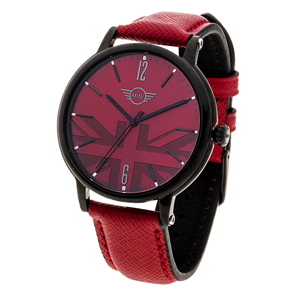 Mini Gent's Swiss Quartz Watch with Union Jack Dial and Genuine Leather Strap Red