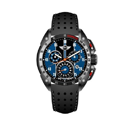 Mini Gent's Swiss Quartz PVD Multifunction Chronograph Watch with Genuine Leather Strap