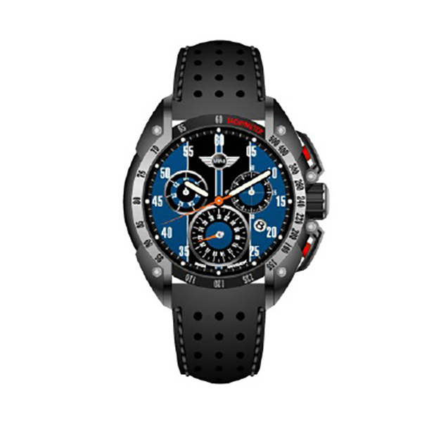 Mini Gent's Swiss Quartz PVD Multifunction Chronograph Watch with Genuine Leather Strap Blue