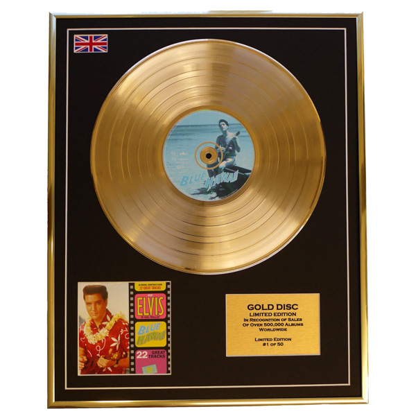Elvis Presley Blue Hawaii Framed & Mounted Gold Disc Display Limited Edition of 50 Only No Colour