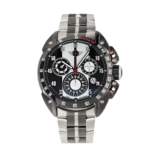 Mini Gent's Swiss Quartz PVD Multifunction Chronograph Watch with Two-Tone Stainless-Steel Bracelet Grey/Black