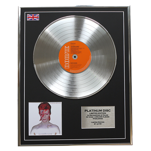David Bowie Aladdin Sane Framed & Mounted Platinum Disc Limited Edition Of 50 Only No Colour