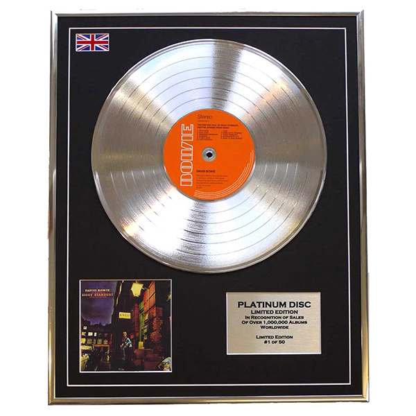 David Bowie Ziggy Stardust Framed & Mounted Platinum Disc Limited Edition of 50 Only No Colour