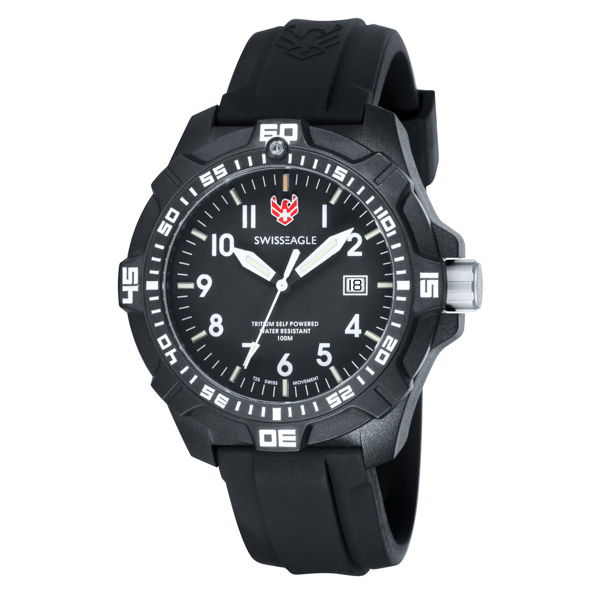 Swiss Eagle Gent's Ever Brite Watch with Silicone Strap Black