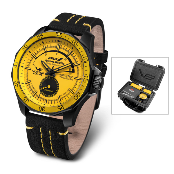 Vostok Europe Gent's World Exclusive Big Z Automatic Watch with Genuine Leather Strap, Extra Strap and Dry Box Yellow