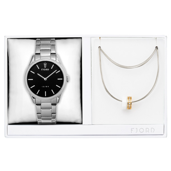 Image of Fjord Ladies' Vendela Watch with Stainless Steel Bracelet and Necklace Gift Set