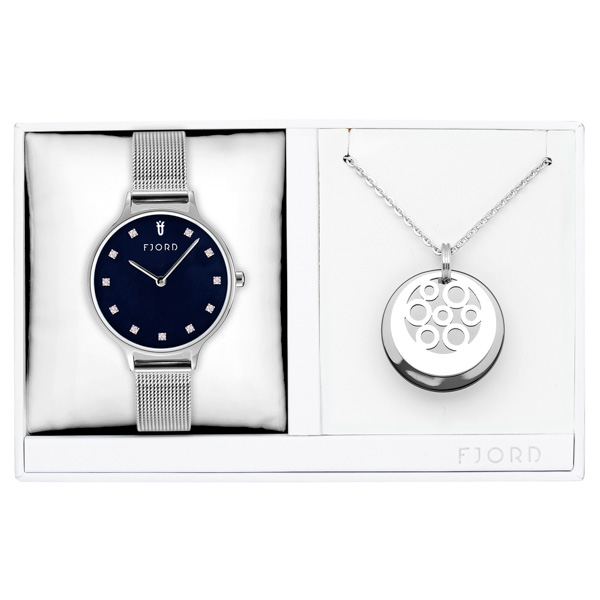 Image of Fjord Ladies' Niklaas Watch with Milanese Strap and Necklace Gift Set