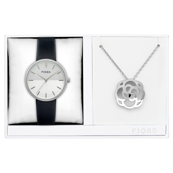 Fjord Ladies' Laurens Watch with Genuine Leather Strap and Necklace Gift Set No Colour