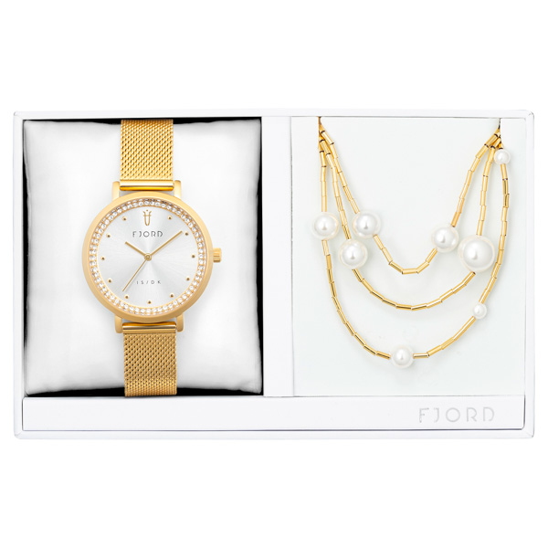 Fjord Ladies' Birger Watch with Milanese Strap and Necklace Gift Set No Colour