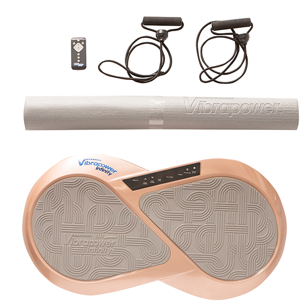 Vibrapower Infinity with Equipment Mat, Resistance Bands and Remote Control Rose Gold