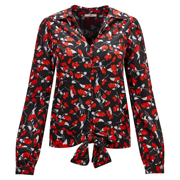 Joe Browns Floral Tie Waist Blouse Black/Red