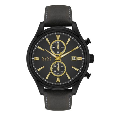 CCCP Gent's Sputnik-2 Chronograph Watch with Genuine Leather Strap