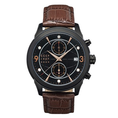 CCCP Gent's Sputnik-1 Chronograph Watch with Genuine Leather Strap