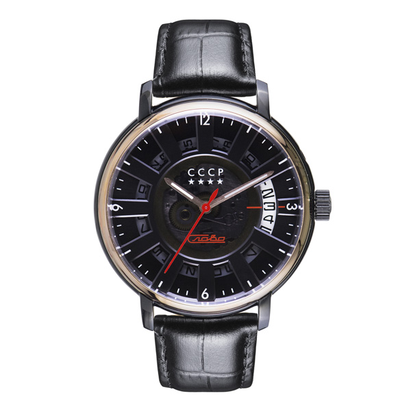 CCCP Gent's Heritage 1950 Slava Mechanical Automatic Watch with Genuine Leather Strap Black
