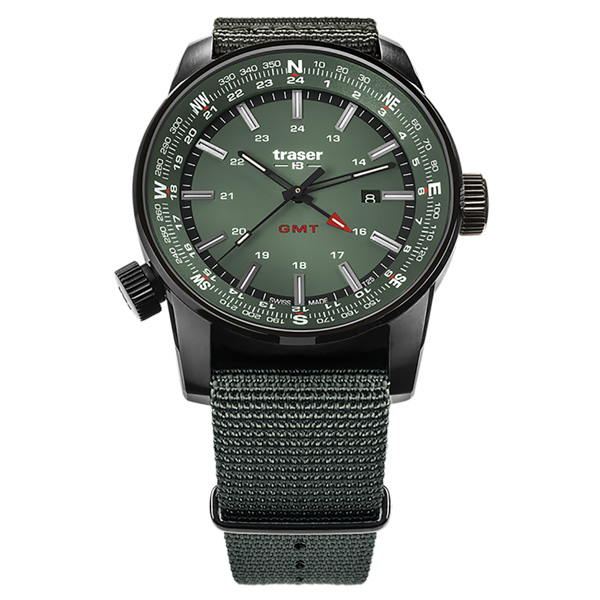 Traser Gent's Swiss Made P68 GMT Compass Outdoor Watch with NATO Strap Green