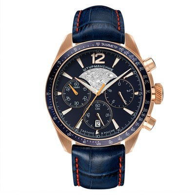 Sturmanskie Gent's Lunokhod Moon Landing Chronograph Watch with Genuine Leather Strap