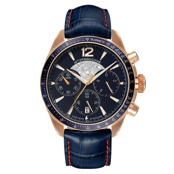 Sturmanskie Gent's Lunokhod Moon Landing Chronograph Watch with Genuine Leather Strap Blue/Rose Gold