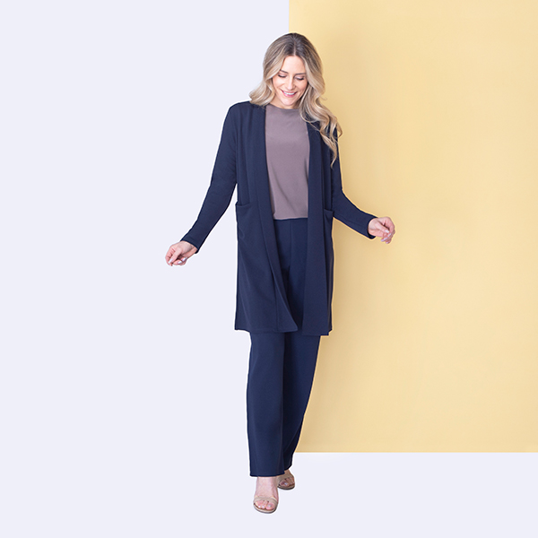 Nicole Stretch Crepe Jacket with Pockets Navy