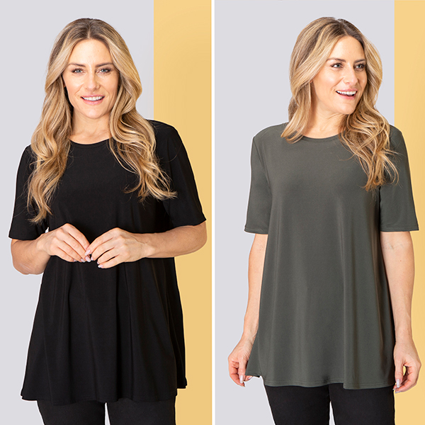 Nicole Half Sleeve Top (2 Pack) Black/Khaki