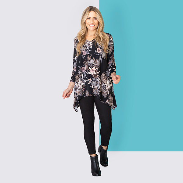 Nicole Print V-Neck Top Black
