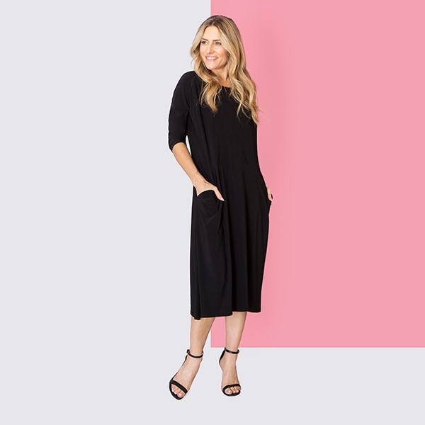 Nicole Straight Hem Pocket Dress Black