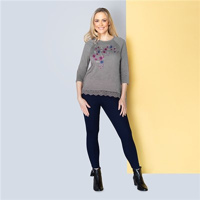 Sugar Crisp Grey Embroidered Lace Hem Top