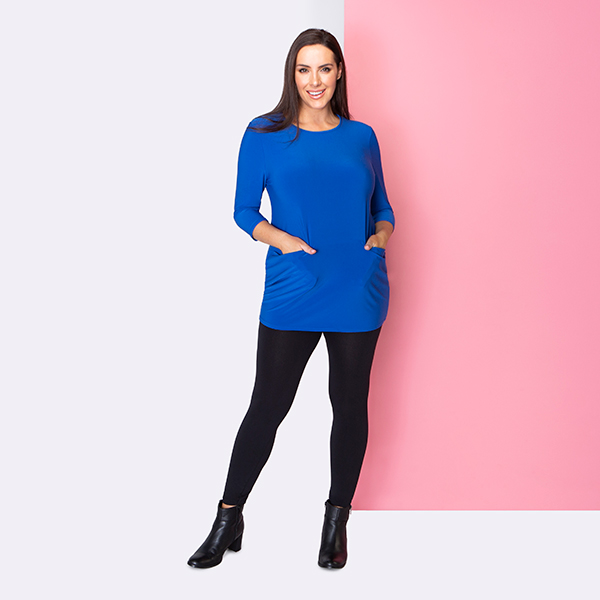 Nicole Pocket Top Navy