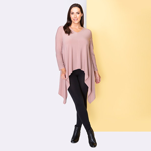 Nicole Exaggerated Dip Side Tunic Rose