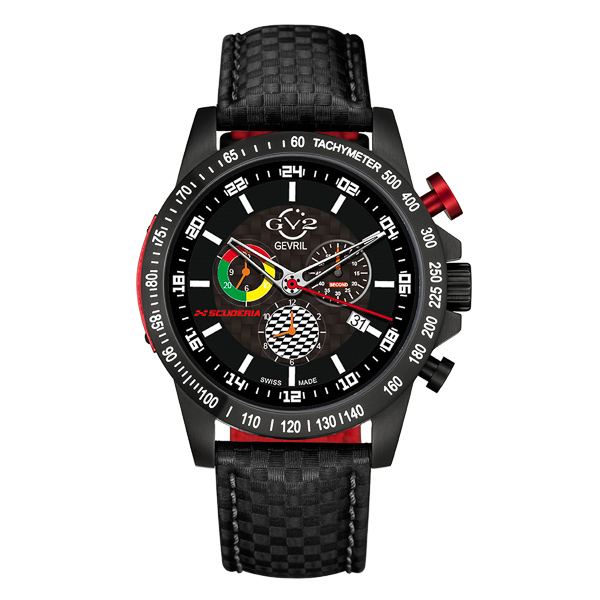 GV2 Gent's Scuderia Ltd Edt Swiss Multifunction Chronograph Watch with Genuine Leather Strap Black