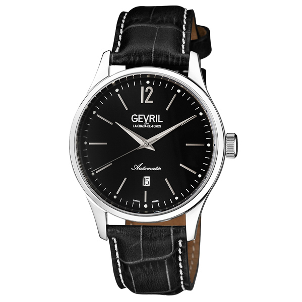 Gevril Gent's Five Points Ltd Edt Swiss Automatic Watch with Genuine Leather Strap Black