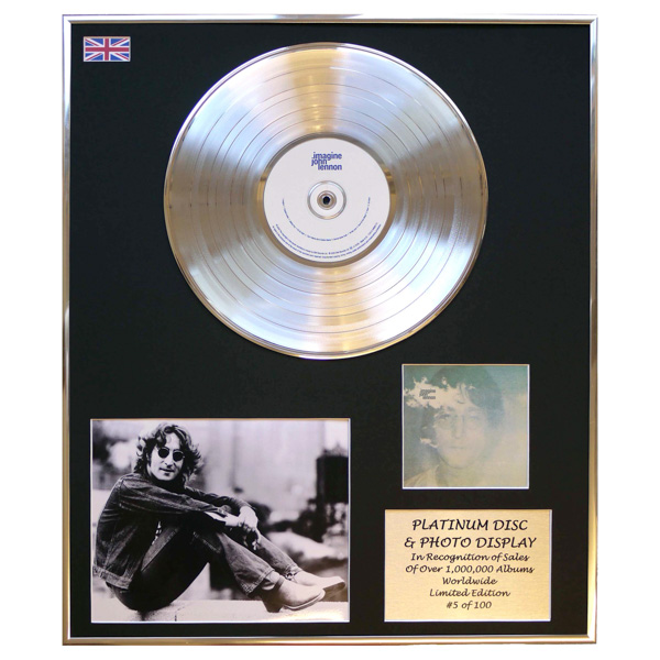 John Lennon Imagine Framed & Mounted CD Platinum Disc Display Limited Edition 100 Worldwide No Colour