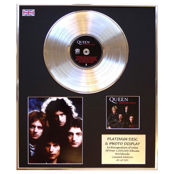 Queen Greatest Hits Framed & Mounted CD Platinum Disc Presentation Limited Edition of 100 Only No Colour