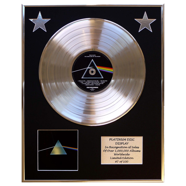 Pink Floyd Dark Side of the Moon Framed & Mounted CD Platinum Disc Limited Edition of 100 Only No Colour