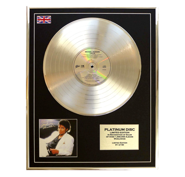 Michael Jackson Thriller Framed & Mounted CD on Platinum Disc Limited Edition of 50 Only No Colour