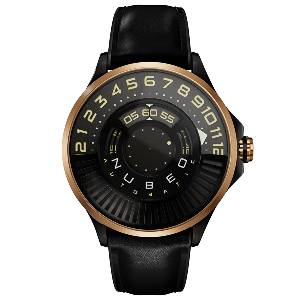 Nubeo Gent's Limited Edition Continuum Automatic Watch with Genuine Leather Strap Gold