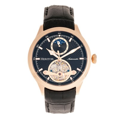Heritor Gent's Automatic Open Heart Gregory Watch with Genuine Leather Strap