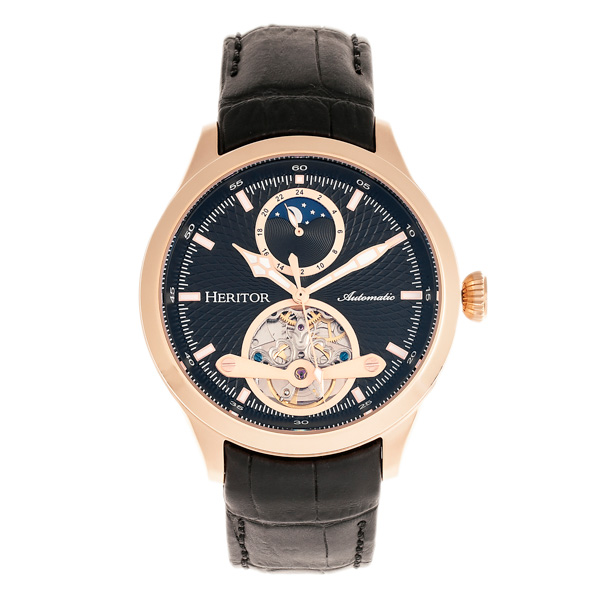 Heritor Gent's Automatic Open Heart Gregory Watch with Genuine Leather Strap Black