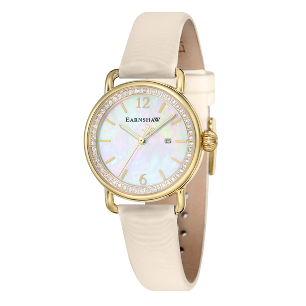 Thomas Earnshaw Ladies' Investigator Watch with MOP Dial and Satin Strap Cream
