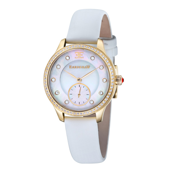Thomas Earnshaw Ladies' Australis Watch with MOP Dial and Satin Strap Gold